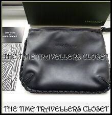 New in Box Kate Moss for Longchamp Black Leather Braided Small Clutch Bag Zebra
