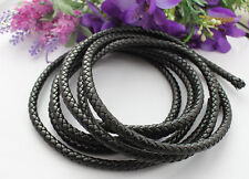 3 Meters of 8mm Black Braided Bolo Leather Cord #22515
