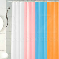PLAIN SHOWER BATHROOM CURTAIN 12 HOOK RING SET 180X180CM MILDEW SPLASH RESISTANT