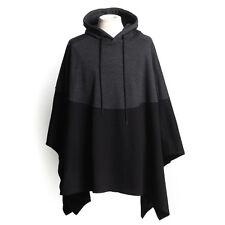 Men's jacket HOODIE PONCHO ALPACA WOOL jumper cloak sweater cape handmade black