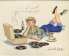 VINTAGE GIRL SODA POP RECORD PLAYER KITTEN CAT SANDWICH MUSIC DENIMS CARD PRINT