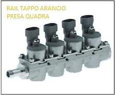 RAIL COMPLETO DI 4 INIETTORI TAPPO ARANCIO COMPATIBILE IMPIANTO LANDI RENZO
