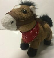 """Cuddle Barn 10"""" Gallop Musical Horse Sings Whinnies Trots Red Bandana"""