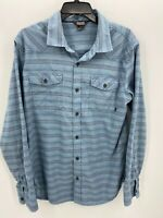 Outdoor Research Mens Size Large Blue Striped Long Sleeve Button Up Shirt