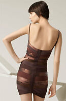 HERVE LEGER BROWN METALLIC BANDAGE SEQUIN DRESS M