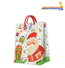 Christmas Printed Paper Gift Present Bag LARGE SANTA WITH GIFTS Santa Claus / D