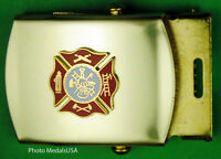 Fireman Fire Department blue Web Dress Belt & Brass Buckle