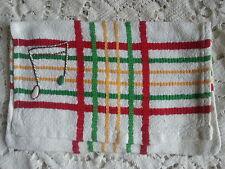 pochette porte serviette brodée main note de musique vintage