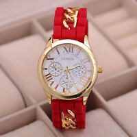 2018 Women's Girl Chain Silicone Roman Numerals Analog Quartz Wrist Watches