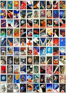 100 Soviet Russia Space Era Posters Reproduction Stickers GAGARIN MOON SPUTNIK
