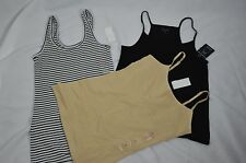 Womens NEW Medium Tank Top Lot Of 3 Beige Tan Black White Striped Solid