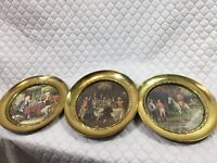 3 Vintage Brass Plates With Three Different Victorian Scenes Made In England