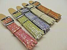 cinturini vera pelle x swatch collezione cocco glitter 17 mm strap band watch