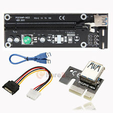 New PCI-E Express USB3.0 1x to 16x Extender Riser Card Adapter SATA Power Cable