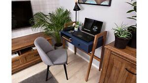 Modern, elegant dressing table, desk with one drawer, navy blue, beech wood legs