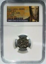 King Henry NGC Medieval Lucca Denier Knights Templar Italy Crusader Cross Coin