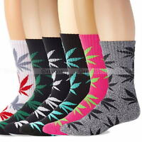 Womens Mens Marijuana Fashion Long Cotton Sport Weed Leaf Socks Ankle Sock Crew