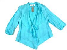 NWT! Chico's Aqua Breeze Drape Front Open Jacket with Shimmer! Sz. 2 Rtl. $99