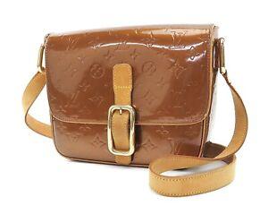 Auth LOUIS VUITTON Christie GM Bronze Vernis Shoulder Bag #34758