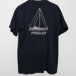 Vintage Sailing Team Interlude Sailing Sailboat Sail Logo T Shirt Sz XL X Large