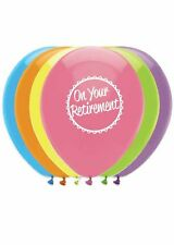 Pack of 6 On Your Retirement Printed Balloons in Assorted Colours - New & Sealed
