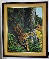 1967 Original Oil Painting of a Leopard Descending a Tree - Framed