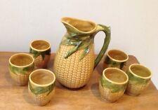 Corn Cob Pottery Jug Pitcher Cup Set Majolica