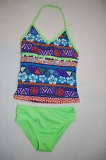Girls Swimsuit 2 PC TANKINI SET Halter HAWAIIAN HIBISCUS Neon Green Blue XS 4-5