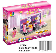 Woma Schönheitsalon Beauty Pink für Mädchen 2in1 Bausteine Set 91 Teile J5753A