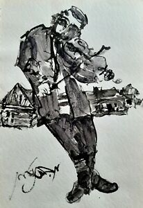 MOSHE BERNSTEIN (1920-2006), Large Ink on Paper, The Fiddler, Signed