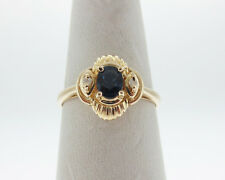 Natural Blue Sapphire Diamonds Solid 14k Yellow Gold Ring FREE Sizing