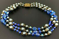 """Vintage Blue Austrian Crystal Faux Glass Pearls Beaded Necklace 16"""""""