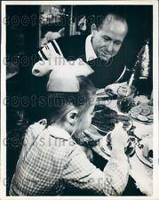1968 Soviet Cosmonaut Alexei Leonov Dines With His Daughter at Home Press Photo