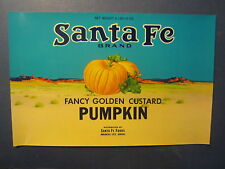 Old Vintage - c.1950's - Santa Fe Brand PUMPKIN CAN LABEL - Arkansas City Kansas