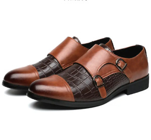 Mens Leather Shoes Buckle Business Pumps Crocodile Oxfords Pattern Slip-on 38-48