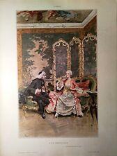 Stampa antica grande BRINDISI IN SALOTTO Lucio Rossi 1890 Old antique print