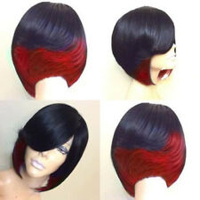 Women's Fashion Short Side Bang Feathered Straight Highlighted Bob Synthetic Wig