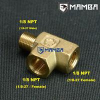1/8 NPT MALE / FEMALE T-PIECE Fuel Oil Pressure Temp Sensor Sender Gauge Adapter