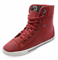 LADIES RED LACE-UP FLAT TRAINER PLIMSOLL PUMPS CASUAL ANKLE BOOTS SHOES UK 3-8