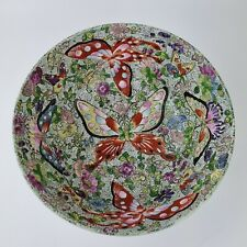 More details for vintage 20th century chinese bowl decorated with butterflies cantonese style