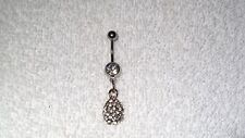Clear Crystal Teardrop Charm Belly Navel Ring Body Jewelry Piercing