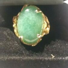 (pgasteelers1)14 Kt. Yellow Gold Vintg. Cocktail Ring 11.6 Gm 7.2 Ct Oval B Jade