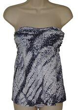 Lucky Brand tankini set swimsuit size S gray animal print bandeau women nwt