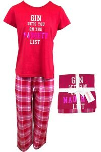 """FAB LADIES RED CHECK COTTON PYJAMAS """"GIN GETS ME ON THE NAUGHTY LIST """" SIZE 6-22"""