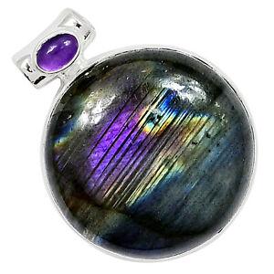 12g Labradorite & Amethyst 925 Silver Pendant Jewelry ALLP-756