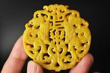 Exquisite Chinese Old Jade Hand-Carved *2 Phoenixs* Lucky Pendant B87