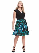 TAYLOR DRESSES PLUS SIZE FIT & FLARE DRESS IN ABSTRACT EMERALD PRINT 18W