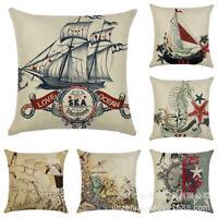 18'' Retro Nautical Sea Sailing Pillow Case Sofa Throw Cushion Covers Home Decor