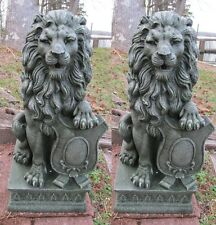 2 Regal Lion Statue Outdoor Guardian Driveway Entrance Garden Decor Pair
