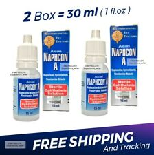 2 x Naphcon A Eye Drops 15 mL (0.5 oz) Redness Itchy Allergy Relief Exp:10/2021